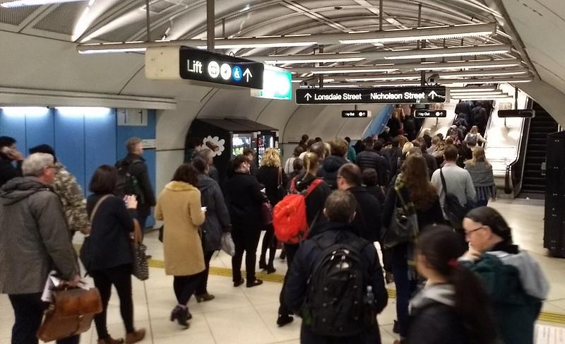 Queues for escalators at Parliament station