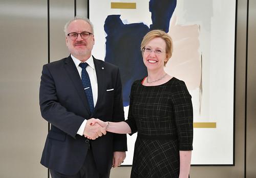 29.10.2019. Valsts prezidents Egils Levits piedalās diskusijā ar Amerikas Tirdzniecības palātas Latvijā biedriem par uzņēmējdarbības vidi Latvijā