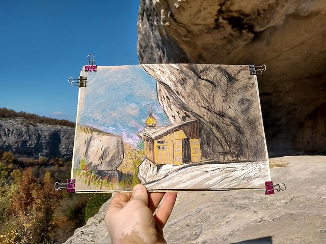 2019.10.28 - drawing CHELTER-KOBA CAVE MONASTERY