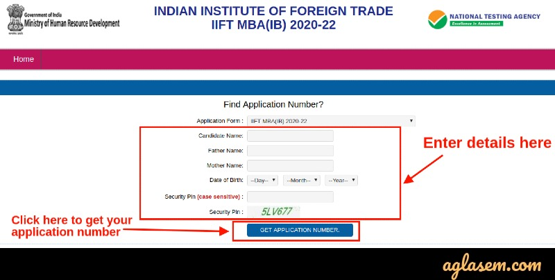 Forgot IIFT 2021 Application Number