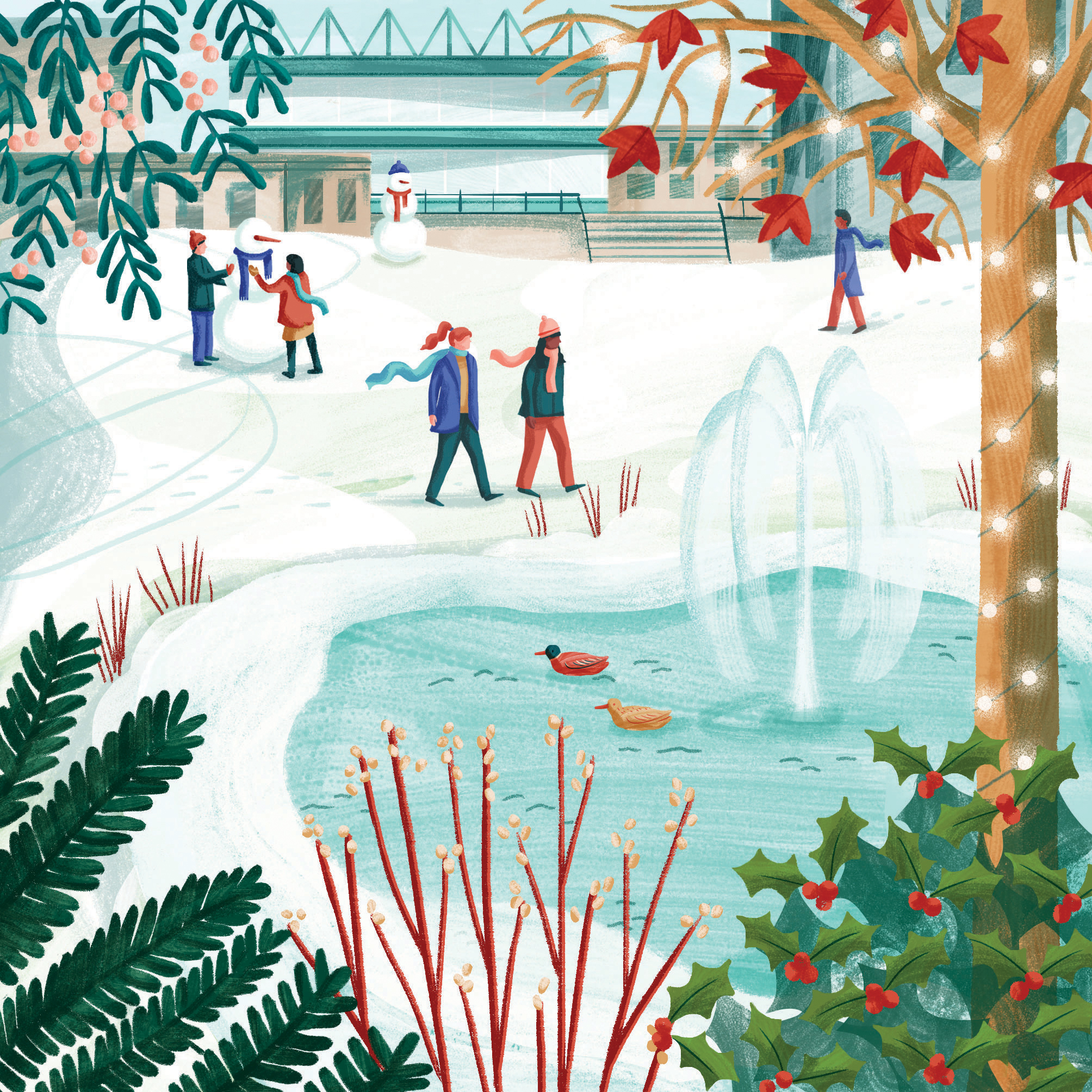 Christmas card design 2019 - An illustration of the University of Bath lake in Winter by Brittany Molineux