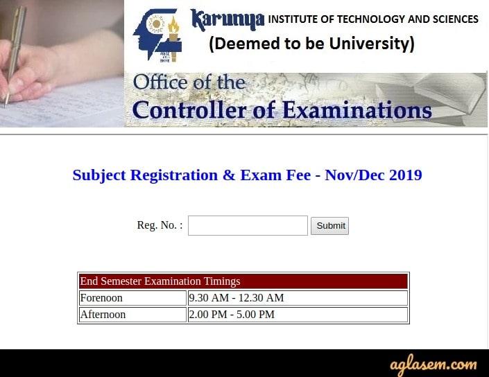 Karunya University Time Table