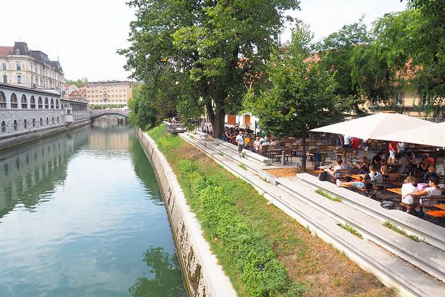Riverside scene, Ljubljana, Slovenia