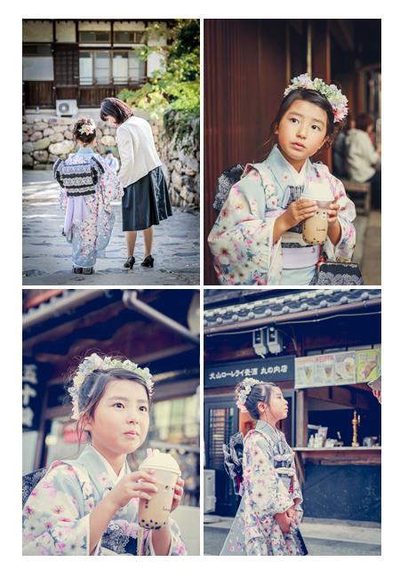 犬山城下町を散策 七五三のロケーションフォト タピオカミルクティー