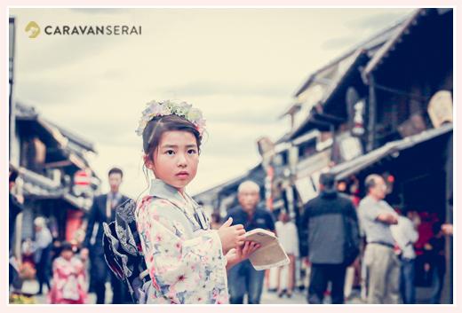 犬山城下町を散策しながら七五三のロケーション撮影 7歳の女の子