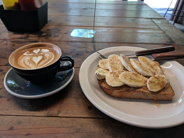 banana toast and flat white @ Deus ex Machina