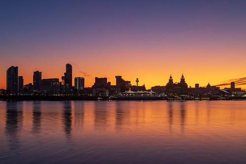 birkenhead england unitedkingdom sunrise cityscape landscape seascape river mersey skyline