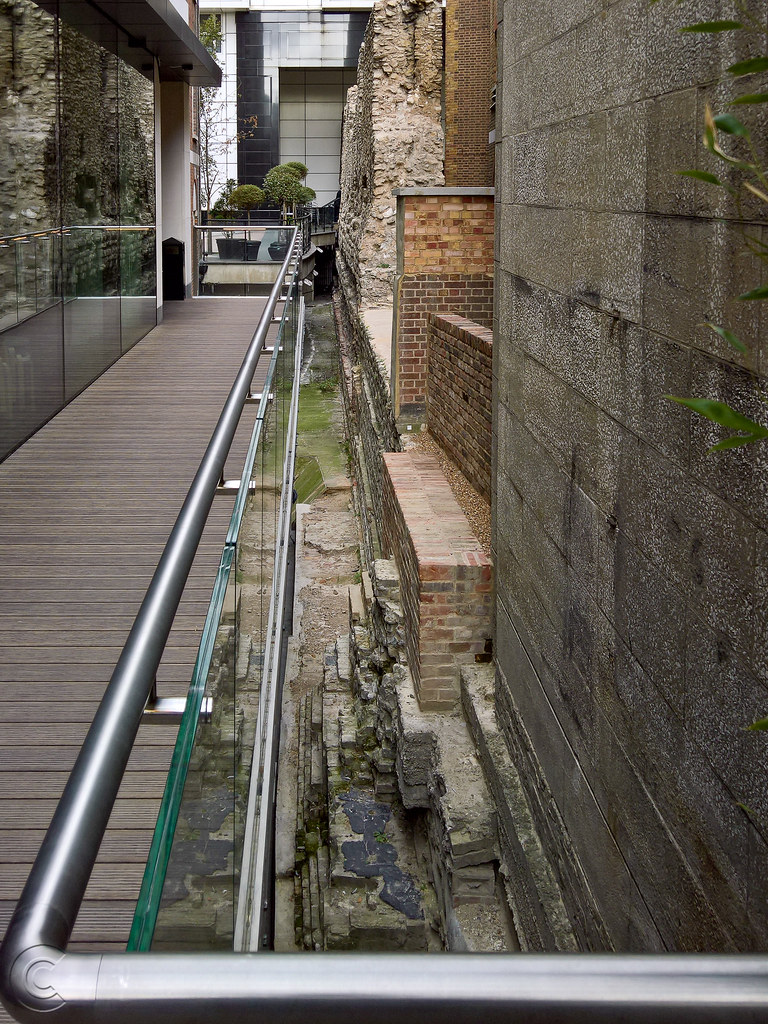 Rear terrace of citizenM hotel showing Roman walls