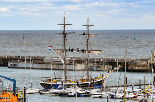 The 'Morgenster' sailing vessel at Ramsgate during sail maintenance