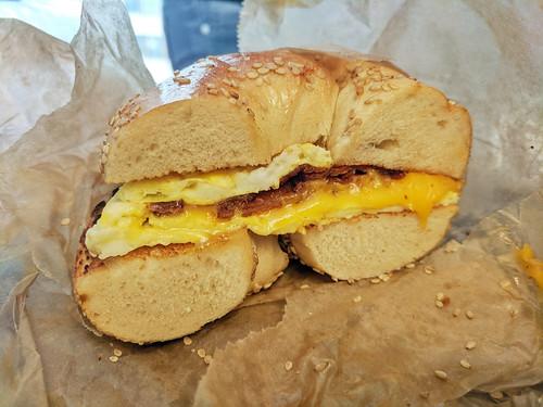 breakfast bagel from Brown's Bagels (very good)