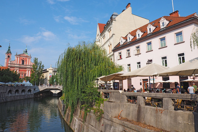 Riverside cafes, Ljubljana, Slovenia