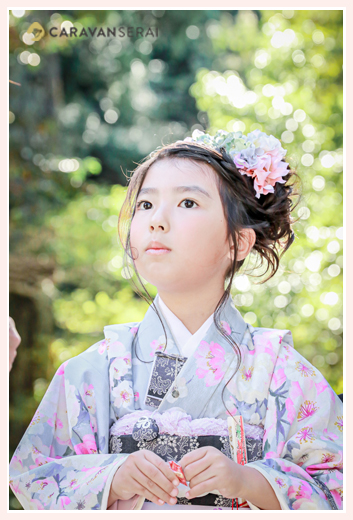 七五三 7歳の女の子 ヘアスタイル 着物