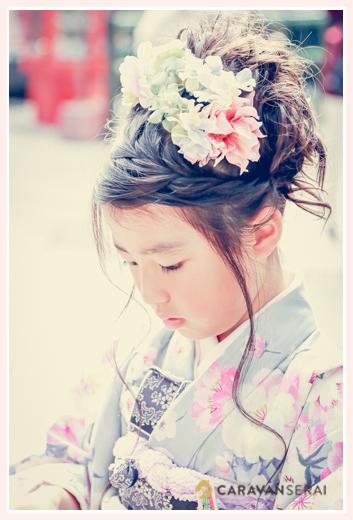 七五三 着物 ヘアスタイル 7歳の女の子
