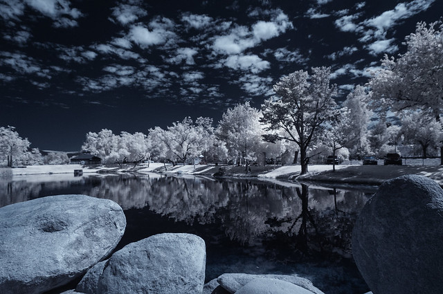 Boulders And Reflections At Santee Lakes