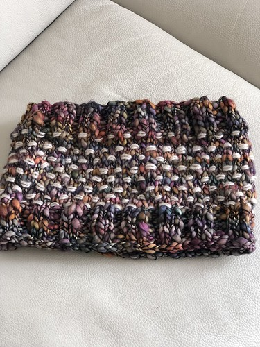 Marilyn's cowl knit using Malabrigo Caracol
