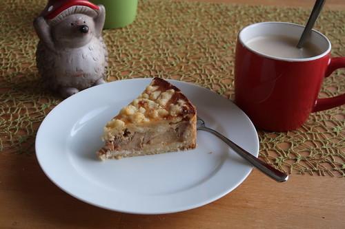 Das letzte Stück des Quitten-Käsekuchens vom Sonntag zum Kaffee