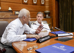 Adm. John C. Aquilino, commander of U.S. Pacific Fleet, receives a briefing from Vice Admiral Srikant, AVSM, the commandant of India's National Defence College, Oct. 29. (U.S. Navy photo)