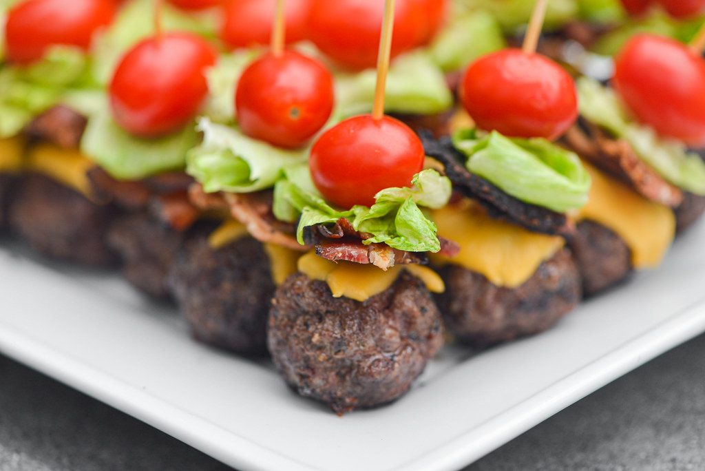 Bacon Cheeseburger Meatball Skewers