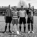 L-R: MIke Reid (mascot), Kevin Fraser (Buckie Thistle Captain), Liam Duncan (Referee) & Ross Still (Huntly Captain)