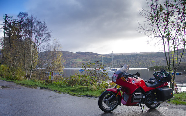 BMW K75s outside Fort Augustus, Scotland.
