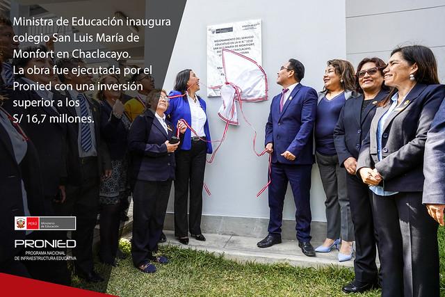 Ministra de Educación inaugura colegio San Luis María de Monfort, en Chaclacayo