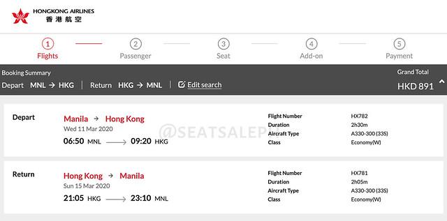 Hong Kong Airlines Manila to Hong Kong Roundtrip Promo
