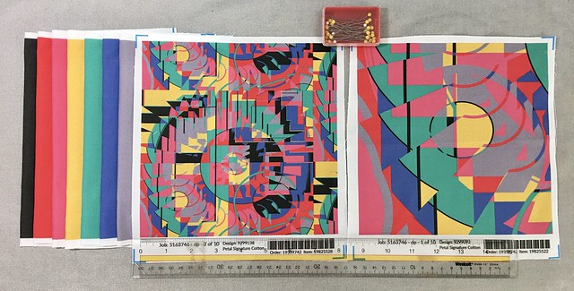 """""""Colorful Kaleidoscope"""", large and small scale fabric test swatches along with solid coordinates. Original design created digitally."""