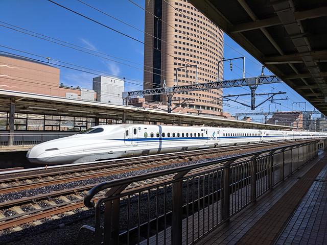 Shinkansen train flying by...