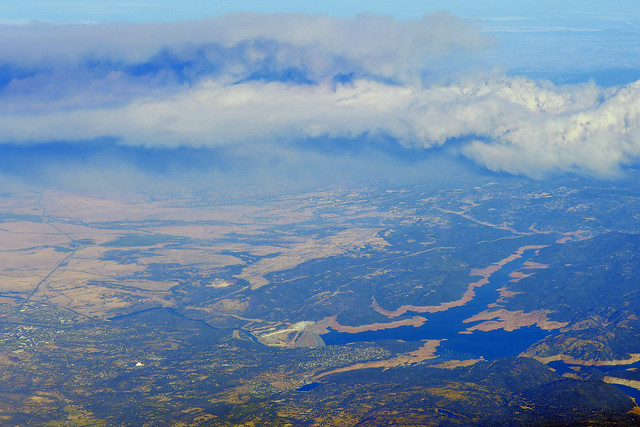Aerial view of the Chico, California, area and, most importantly, smoke from the beginning of the Camp Wildfire.