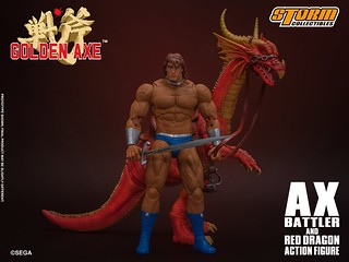 時代的淚水!STORM COLLECTIBLES《戰斧 GOLDEN AXE》亞克斯‧巴特拉 & 紅龍 1/12可動人形(AX BATTLER AND RED DRAGON  ACTION FIGURE)