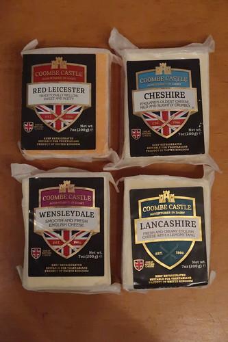 Vier Sorten Englischer Käse: Wensleydale, Cheshire, Red Leicester und Lancashire