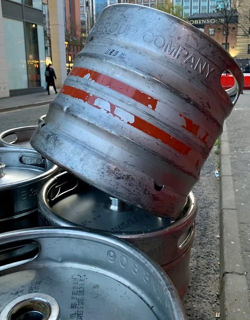 Dangerously stacked kegs in Franklin Street, Belfast