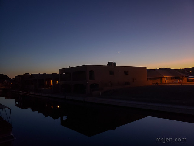 Blue Hour at the Moovalya Keys with Jupiter, the new Moon, and a tiny Venus just above the house