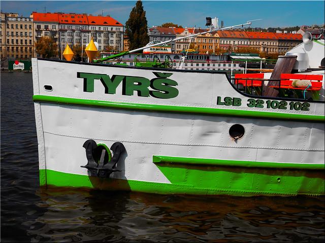 Ship on the Vltava river in Prague