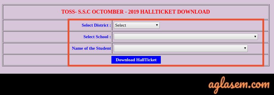 TOSS Hall Ticket 2019