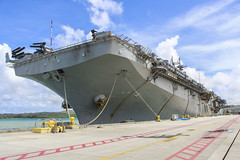 USS Boxer (LHD 4) sits along the pier at Naval Base Guam, Oct. 30. (U.S. Navy/Valerie Maigue)