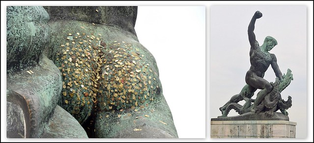 Chewing Gums on the Statue, Budapest, Hungary.