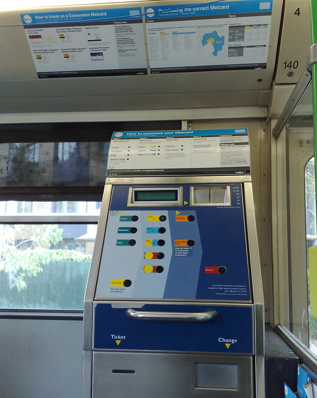 Metcard vending machine on a tram, October 2009