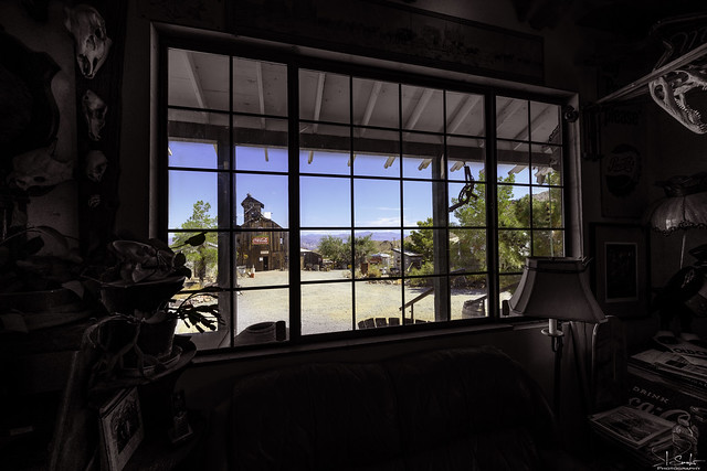 Window view from Nelson Ghost Town - Nevada - USA