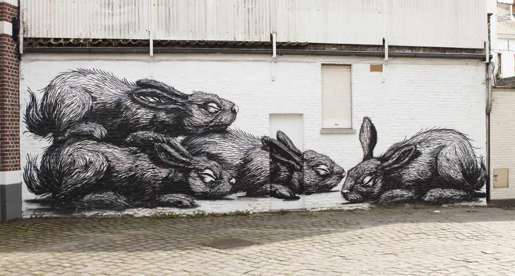 ROA: street art in Gent, België | Mooistestedentrips.nl