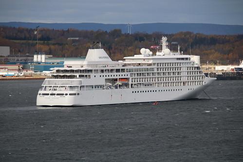 Silver Whisper (Silversea). anchored off Sydney, Nova Scotia 20191027