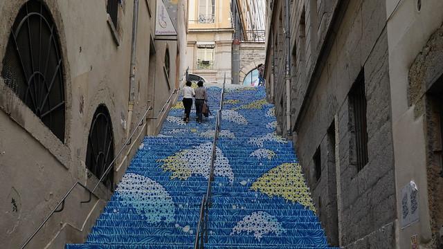 Escalier bleu à la Croix-Rousse