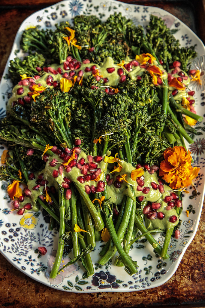 Roasted Broccolini with cilantro tahini Sauce- (Vegan) from HeatherChristo.com