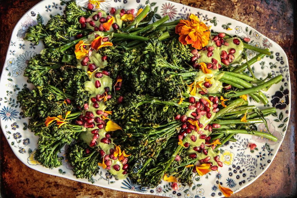 Roasted Broccolini with cilantro tahini Sauce- (Vegan) from HeatherChristo.com