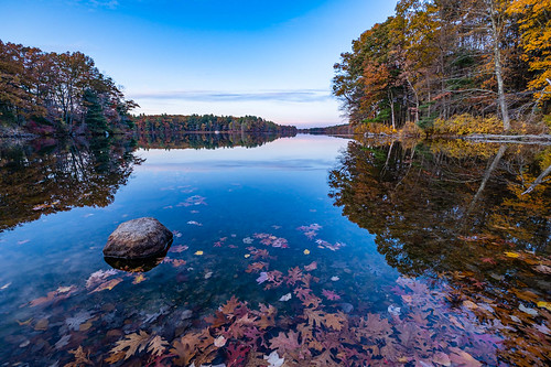 clouds fall handheld lake landscape reflection rock sky statepark sunset trees ashland ma unitedstates
