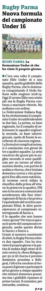 Gazzetta di Parma 30.10.19 - Formula campionato U16