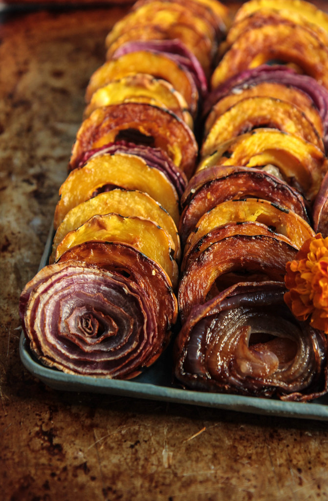 Roasted Delicata Squash and Red Onion from HeatherChristo.com