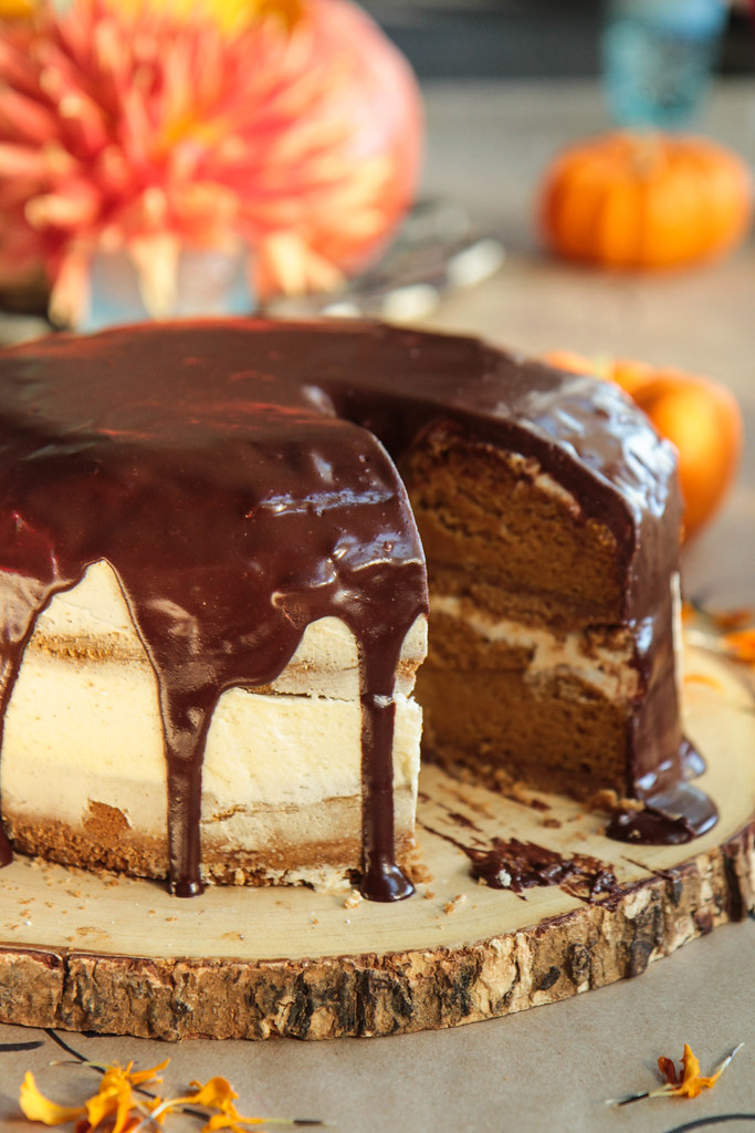 Pumpkin S'mores Cake- Gluten-free and Vegan from HeatherChristo.com