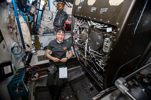 NASA astronaut Christina Koch works on orbital plumbing tasks | by NASA Johnson