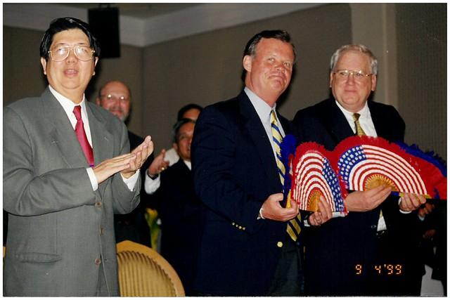 Ambassador Quinn presents American Flag